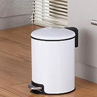 ペダルゴミ箱ステンレス鋼肥厚トイレ廃棄物のバレルフットゴミ箱キッチンリビングルームの寝室のためのカバー付きミュートゴミ箱,白,5L