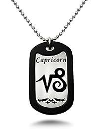 Capricorn Zodiac Signステンレススチール犬タグネックレス24インチMade in USA