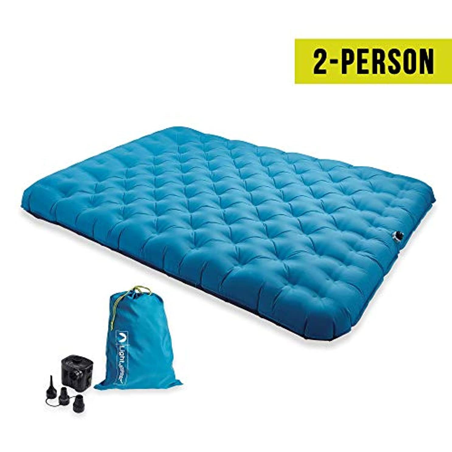 昨日露骨な時間Lightspeed Outdoors 2 Person PVC-Free Air Bed Mattress for Camping and Travel (Light Blue) 141[並行輸入]