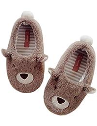 Saworsキッズスリッパ ベビー靴 ファーストシューズ 歩行練習 ガールズ ボーイズ クマ柄 柔らかい 歩きやすい ルーム 可愛い 衛生的 滑り止め もこもこ ふわふわ 軽量 洗える 防臭抗菌 肌触り優しい 2-6歳