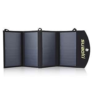suaoki 25wソーラーチャージャー 変換効率25% ソーラーパネル4枚搭載 2USBポート 防水 USB自動検知機能搭載 軽量 コンパクト スマホなどへ急速充電