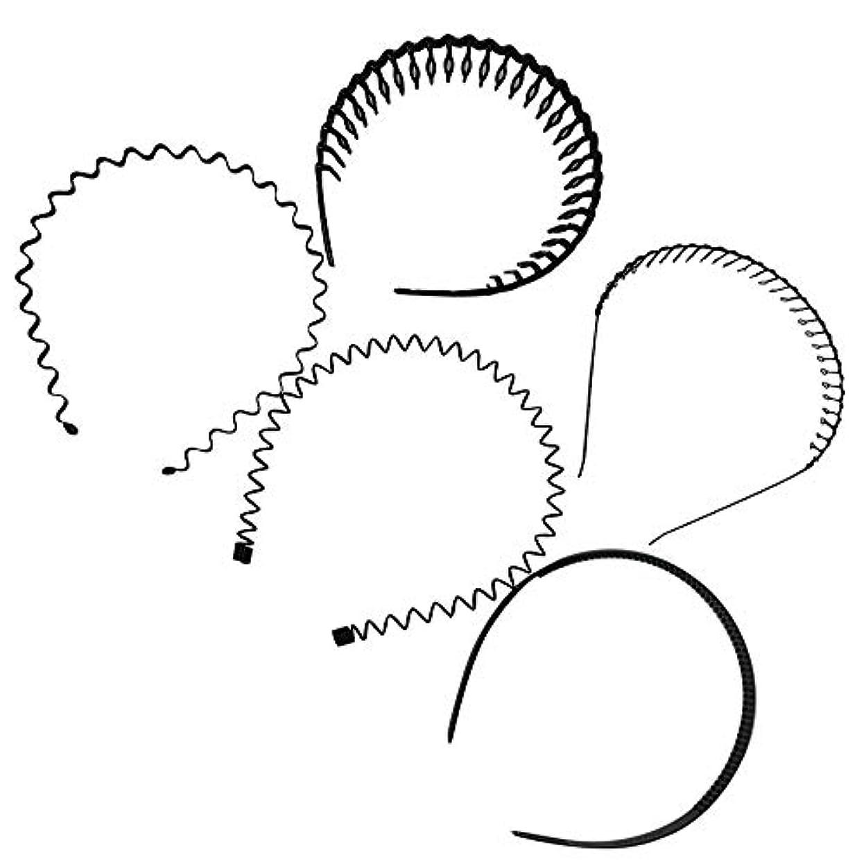 。クスコ乗算ヘアバンド カチューシャ 5本セット 5種入り 男性 女性 兼用 髪留め ヘアアクセサリー