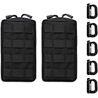Molle Pouches 2Pack - Military Tactical Multi-Purpose Water-Resistant Utility EDC Pouch, with 5 Tactical D-Ring Locks