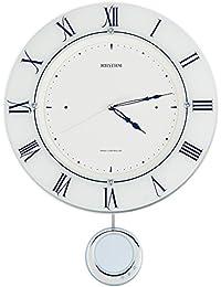 リズム時計 掛け時計 電波 アナログ 振り子 トライメテオ クリスタル 飾り インテリア モデル 白 RHYTHM 8MX402SR03