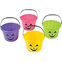 PopcandyネオンAssorted Colored Pails jack-o ¡¯ -lantern trick-or-treatバケットLot of 12
