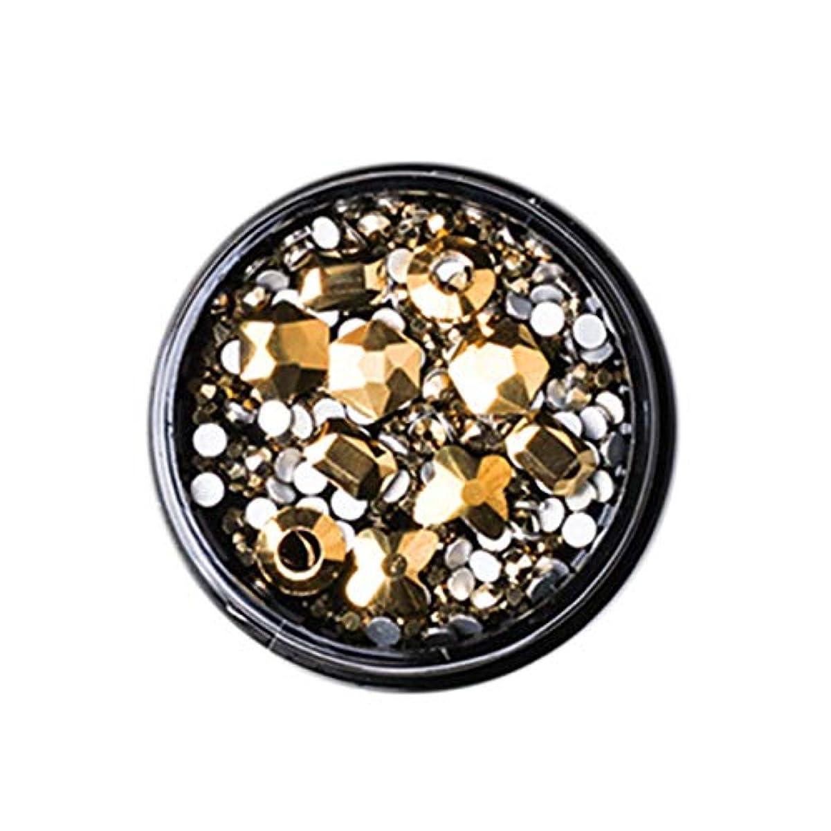 持ってるタオル伝記Gaoominy 1ボックス混合3dラインストーンネイルアートの装飾クリスタル宝石ジュエリーゴールド光沢のある石チャームガラスマニキュアアクセサリー、ゴールド