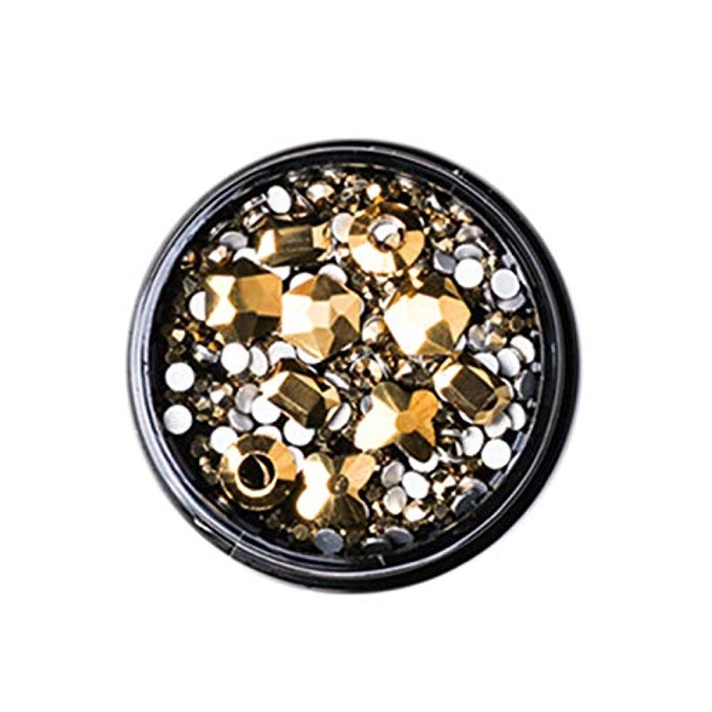 待って巨大差別化するGaoominy 1ボックス混合3dラインストーンネイルアートの装飾クリスタル宝石ジュエリーゴールド光沢のある石チャームガラスマニキュアアクセサリー、ゴールド