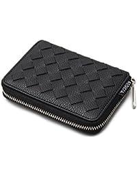 [トップイズム] 二つ折り財布 メンズ 財布 ラウンドファスナー サイフ 男性用 カード入れ 小銭入れ メッシュ 編み込み
