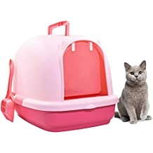 Cat Litter Box with Lid,Aolvo Jumbo Hooded Litter Box with Matching Litter Scoop - High Quality Extra Large