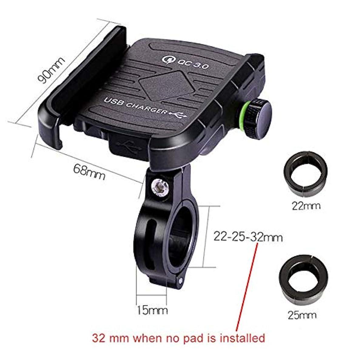 有毒切手ステレオタイプ自転車オートバイ携帯電話マウントホルダー - オートバイ/自転車USB充電器QC 3.0高速充電電話ブラケット、あらゆるスマートフォンGPS用 - ユニバーサルマウンテンロードバイクオートバイ