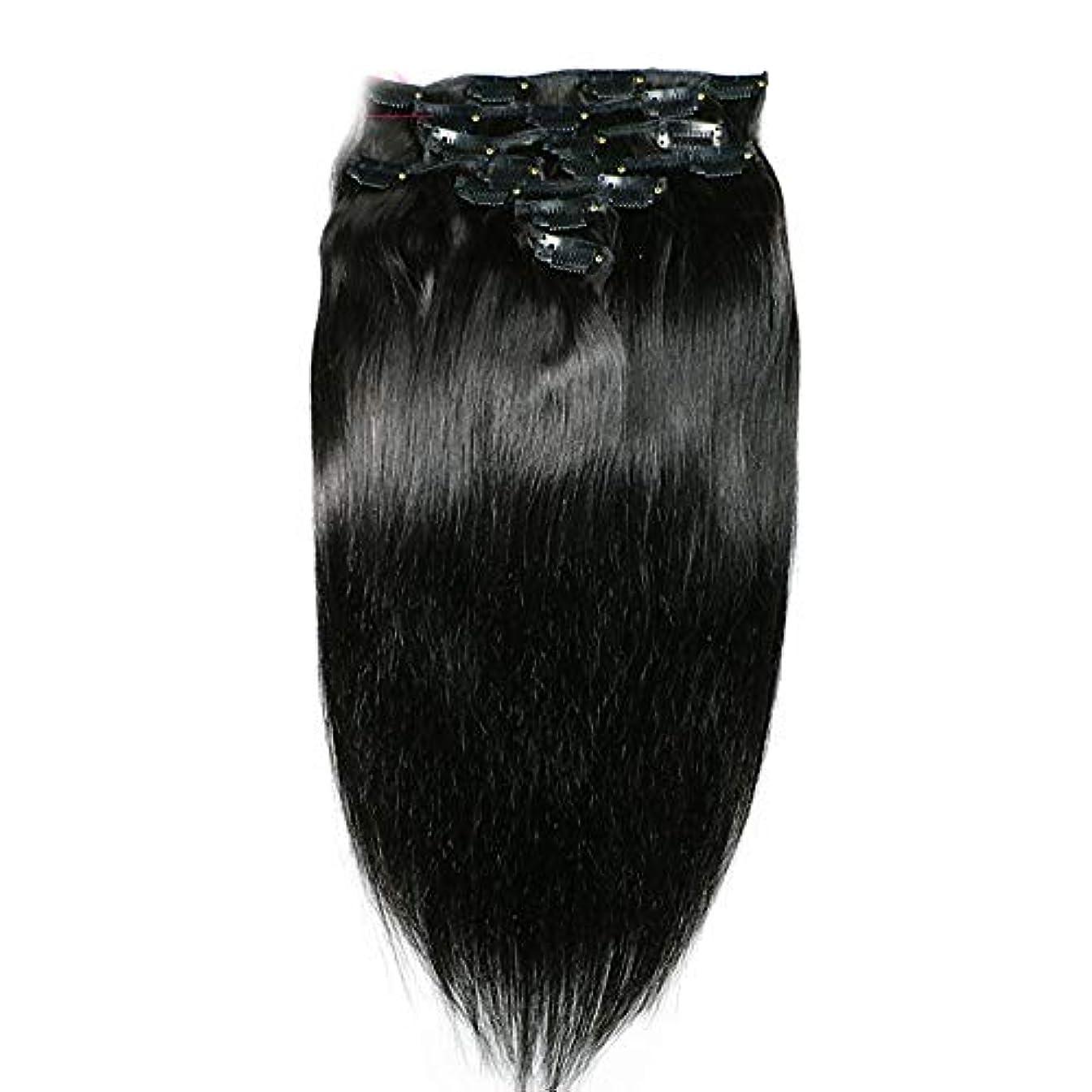スロットつぶすつぶすHOHYLLYA ヘアエクステンションクリップ人間の髪の毛のremyフルヘッドダブル横糸ストレートヘアピースナチュラルブラックコンポジットヘアレースかつらロールプレイングウィッグロングとショートの女性自然 (色 : 黒,...