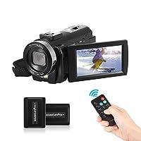 Andoer HDV-201LM ビデオカメラ デジタルカメラ 24MP 16Xデジタルズーム 1080P FHD カムコーダー DVレコーダー 3.0インチ LCDタッチスクリーン 2バッテリー