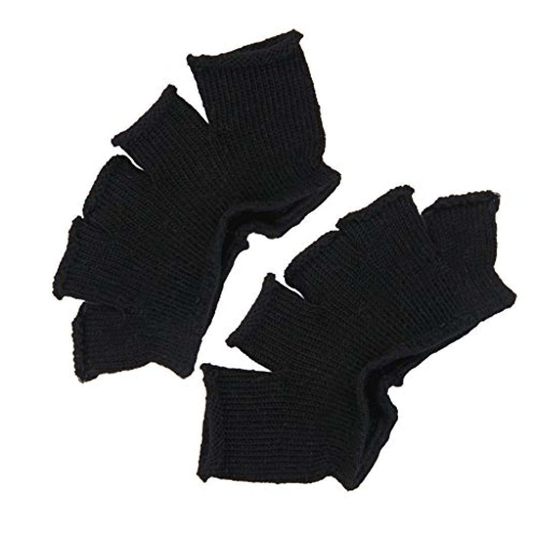 スクラブ取り組むせがむFootful 5本指カバー 爽快指の間カバー 2枚組 男女兼用 足の臭い対策 抗菌 防臭 フットカバー (ブラック)