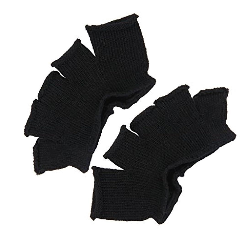 散る現代の建設Footful 5本指カバー 爽快指の間カバー 2枚組 男女兼用 足の臭い対策 抗菌 防臭 フットカバー (ブラック)