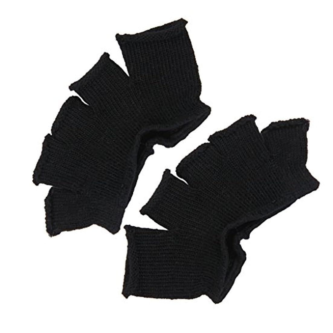 用語集壮大ワイプFootful 5本指カバー 爽快指の間カバー 2枚組 男女兼用 足の臭い対策 抗菌 防臭 フットカバー (ブラック)