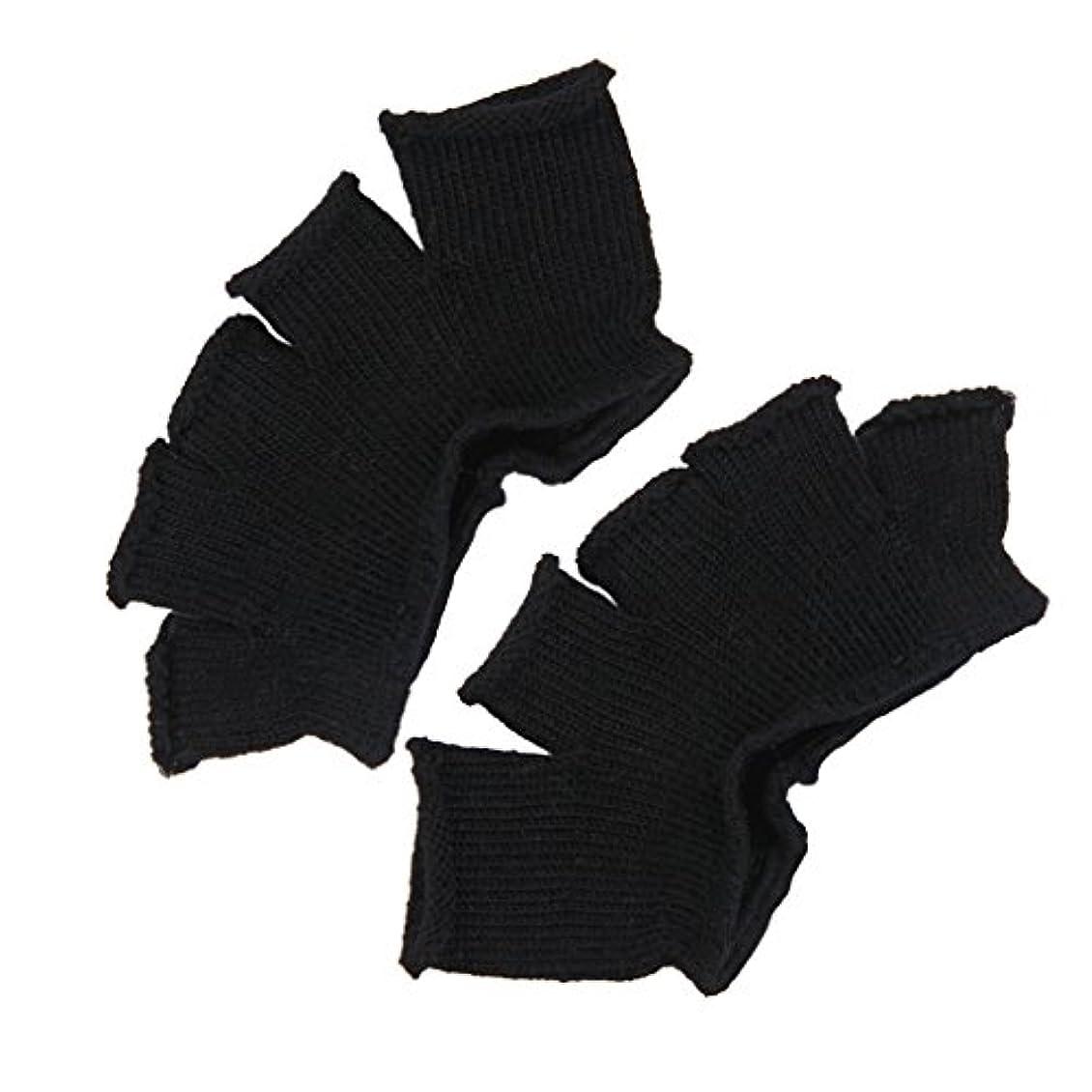 音楽ハッピーサポートFootful 5本指カバー 爽快指の間カバー 2枚組 男女兼用 足の臭い対策 抗菌 防臭 フットカバー (ブラック)