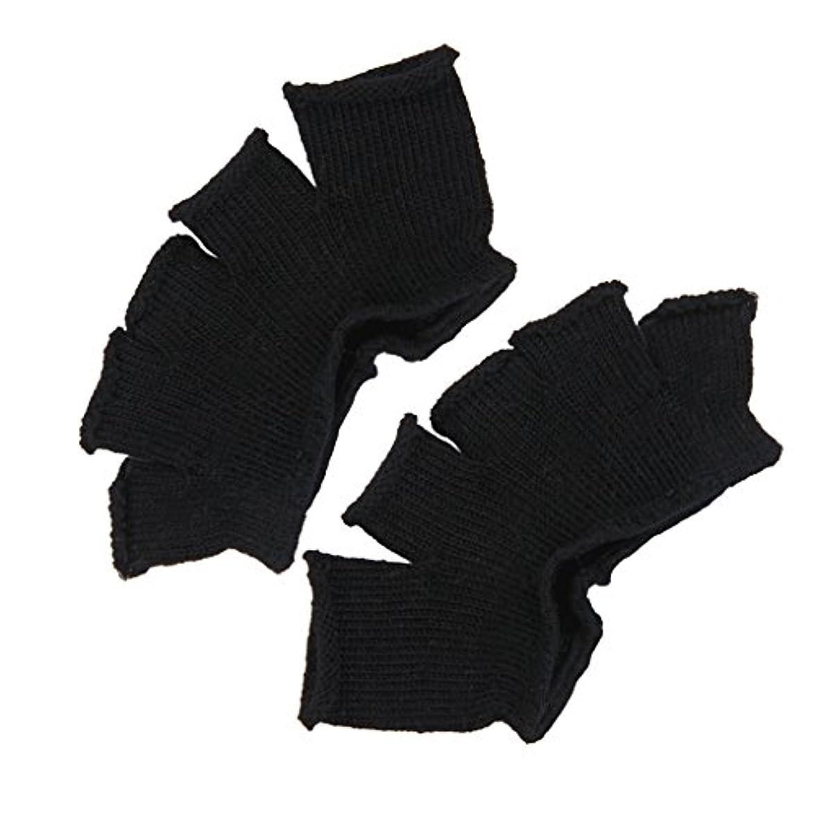 アルカトラズ島快適南極Footful 5本指カバー 爽快指の間カバー 2枚組 男女兼用 足の臭い対策 抗菌 防臭 フットカバー (ブラック)
