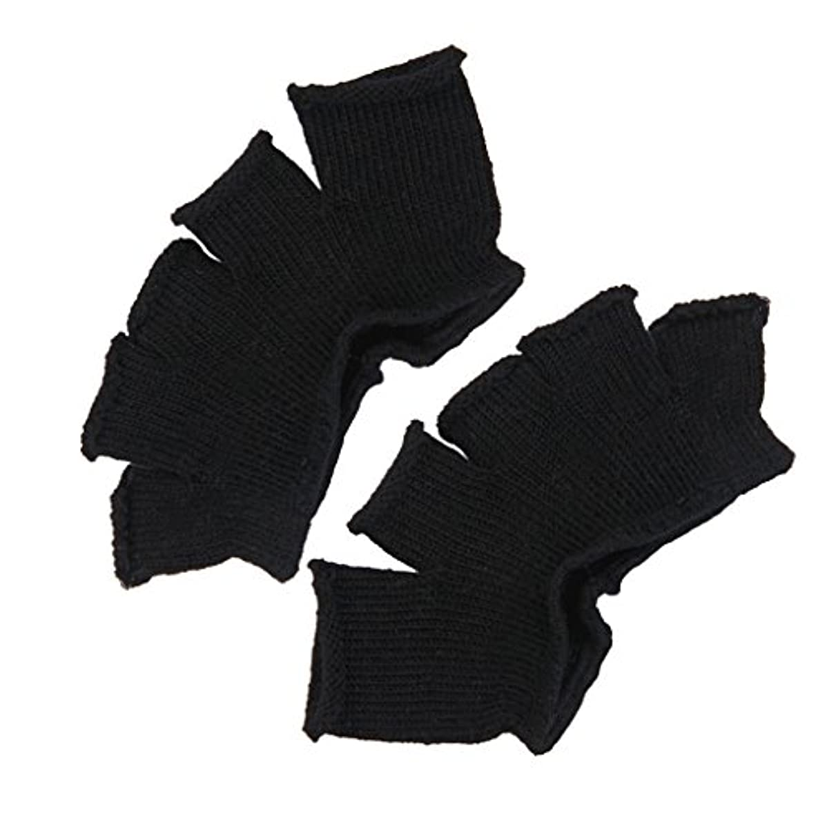 なぜなら無し動機Footful 5本指カバー 爽快指の間カバー 2枚組 男女兼用 足の臭い対策 抗菌 防臭 フットカバー (ブラック)