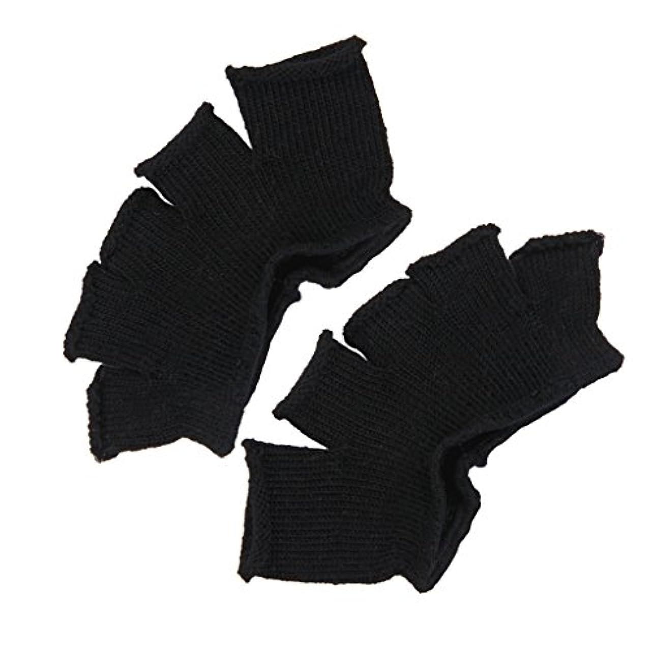 サドル他にエレメンタルFootful 5本指カバー 爽快指の間カバー 2枚組 男女兼用 足の臭い対策 抗菌 防臭 フットカバー (ブラック)