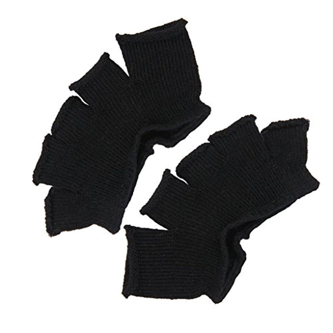 集団インポート拍手するFootful 5本指カバー 爽快指の間カバー 2枚組 男女兼用 足の臭い対策 抗菌 防臭 フットカバー (ブラック)
