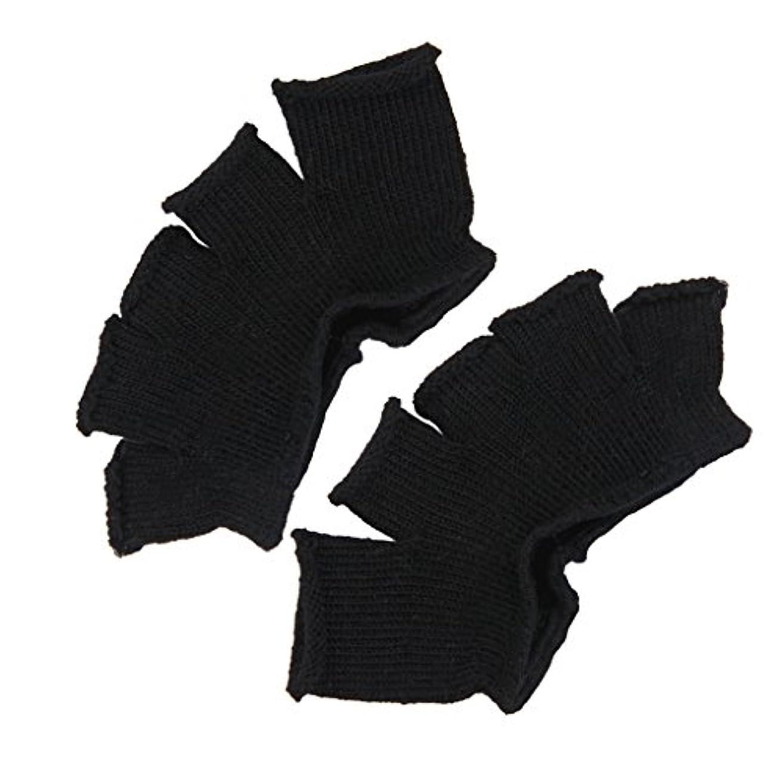 柔和大理石扱いやすいFootful 5本指カバー 爽快指の間カバー 2枚組 男女兼用 足の臭い対策 抗菌 防臭 フットカバー (ブラック)