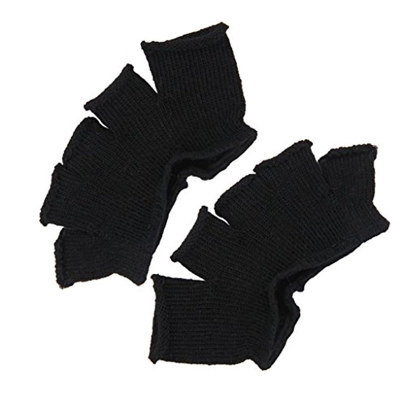 素晴らしいです突撃机Footful 5本指カバー 爽快指の間カバー 2枚組 男女兼用 足の臭い対策 抗菌 防臭 フットカバー (ブラック)