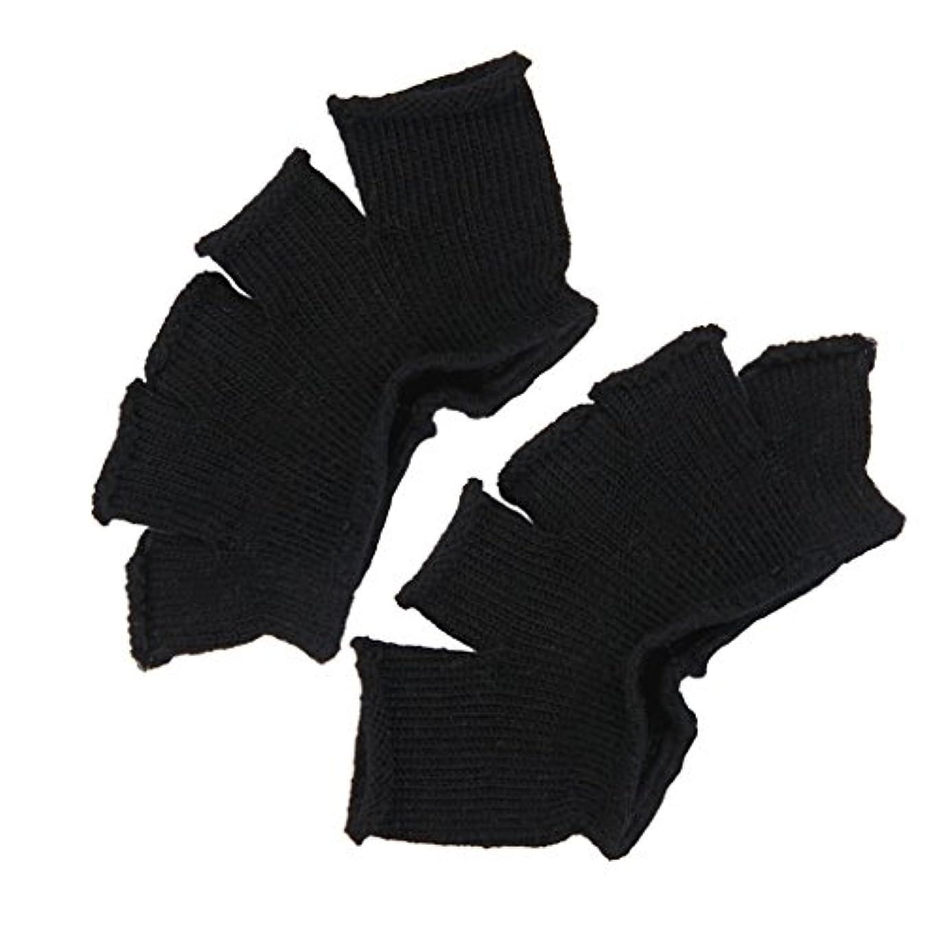 汚い変換率直なFootful 5本指カバー 爽快指の間カバー 2枚組 男女兼用 足の臭い対策 抗菌 防臭 フットカバー (ブラック)