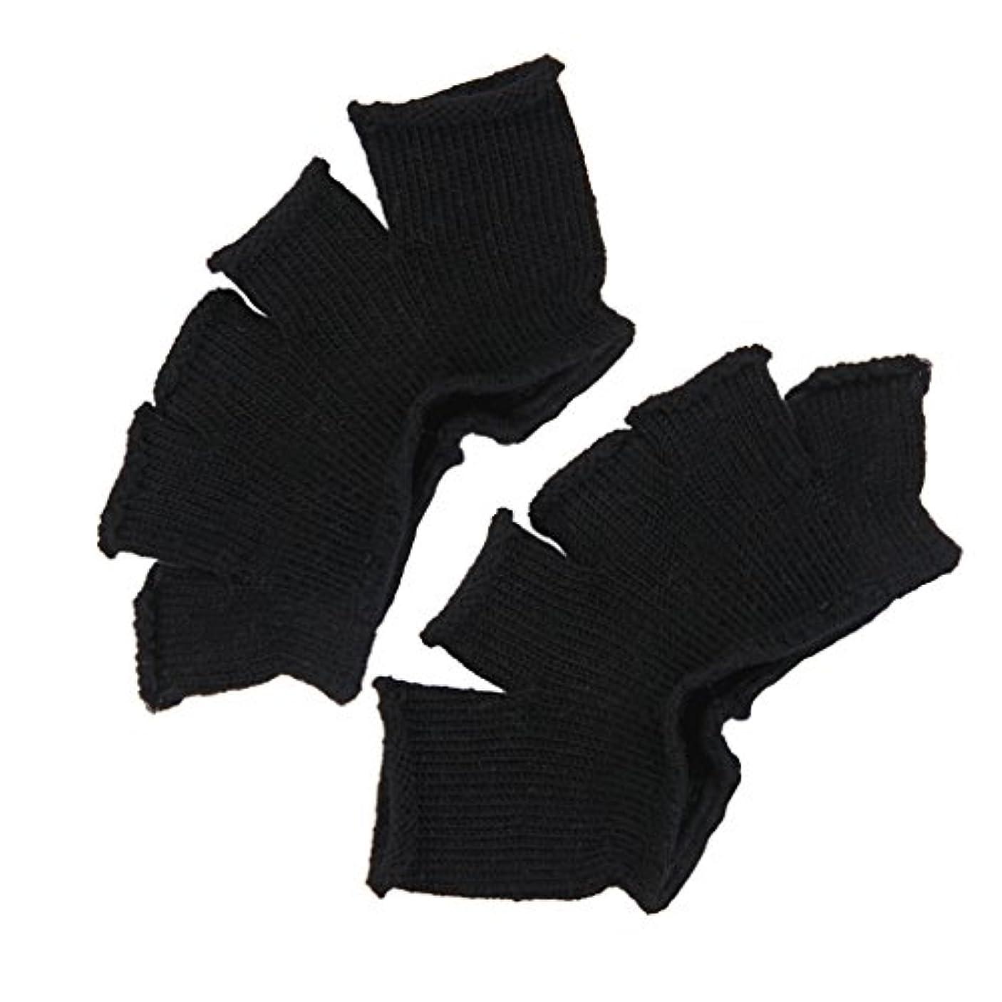 ログ状態豊かなFootful 5本指カバー 爽快指の間カバー 2枚組 男女兼用 足の臭い対策 抗菌 防臭 フットカバー (ブラック)