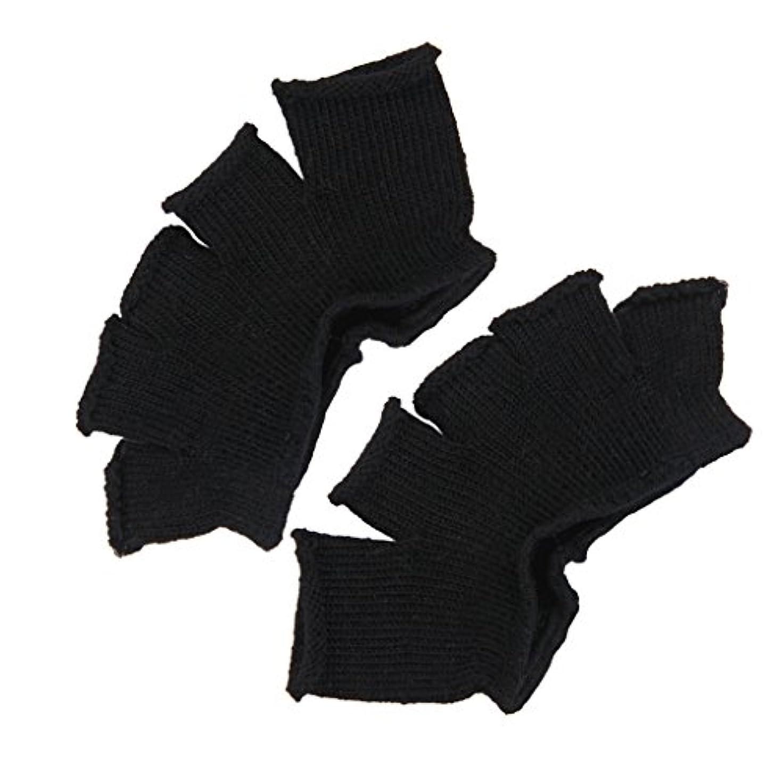 乏しい割る終わりFootful 5本指カバー 爽快指の間カバー 2枚組 男女兼用 足の臭い対策 抗菌 防臭 フットカバー (ブラック)