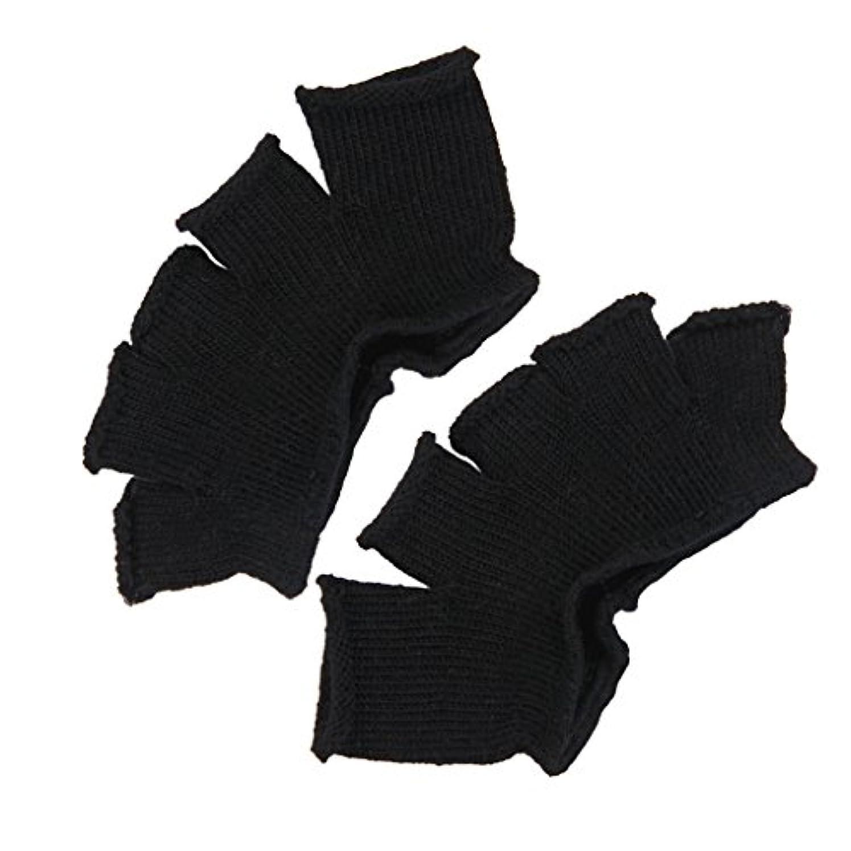 国民結婚式クリームFootful 5本指カバー 爽快指の間カバー 2枚組 男女兼用 足の臭い対策 抗菌 防臭 フットカバー (ブラック)