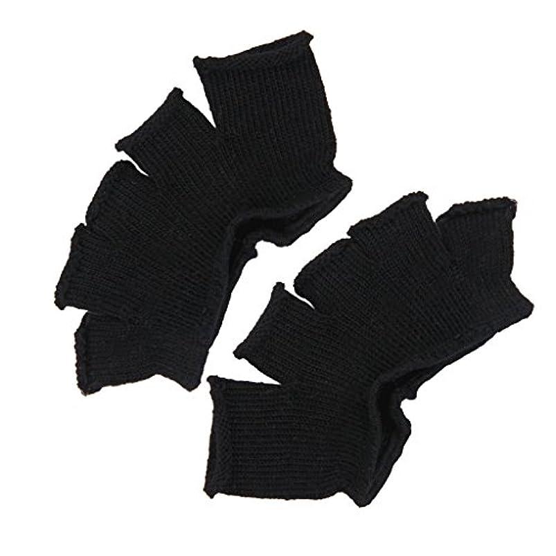 疑い邪魔するFootful 5本指カバー 爽快指の間カバー 2枚組 男女兼用 足の臭い対策 抗菌 防臭 フットカバー (ブラック)
