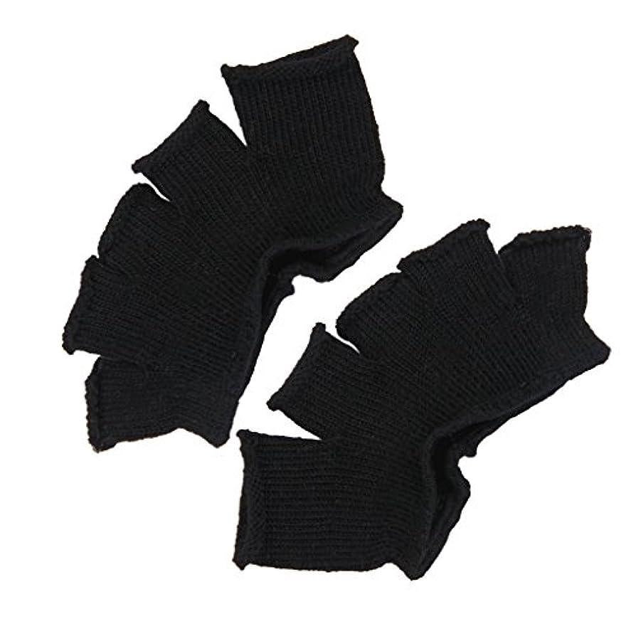 おもしろい佐賀来てFootful 5本指カバー 爽快指の間カバー 2枚組 男女兼用 足の臭い対策 抗菌 防臭 フットカバー (ブラック)