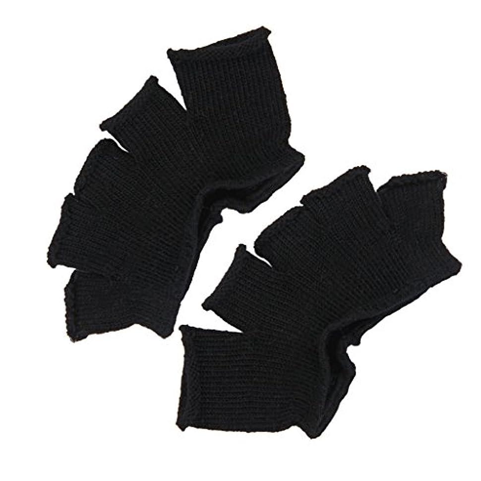 お茶ボーカル息を切らしてFootful 5本指カバー 爽快指の間カバー 2枚組 男女兼用 足の臭い対策 抗菌 防臭 フットカバー (ブラック)