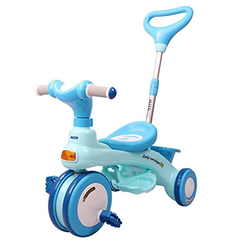 不屈乳白色パズル子供用自転車、折りたたみ自転車1-6歳、ベビーカー、リムーバブルプッシュロッド ( Color : Blue )