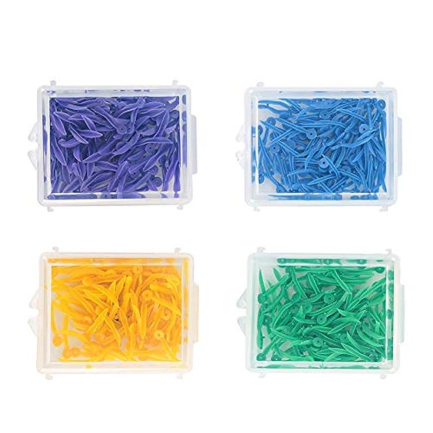 分析的組み合わせる取り替えるDiastemaのくさび、穴が付いている4箱4色の使い捨て可能なプラスチック歯科固定くさび