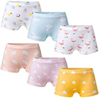 Growth Pal 6 Pack Soft 100% Cotton Girls's Panties Boxer Briefs Little Girls' Underwear Toddler Undies