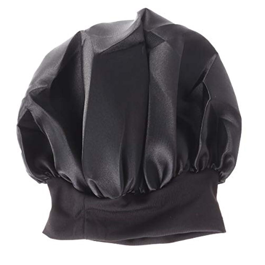 アイザック名前を作る貢献するROSENICE 56-58cmワイドサイド高レジリエンスナイトキャップスリーピングキャップサイズM(ブラック)