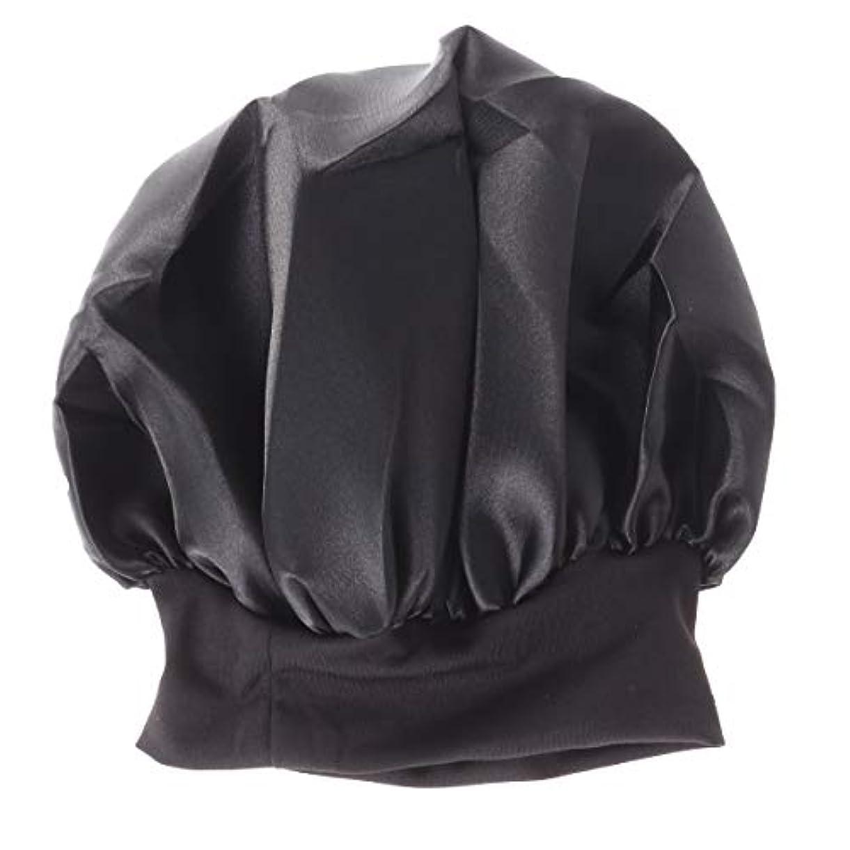 暴露ウォーターフロント反毒ROSENICE 56-58cmワイドサイド高レジリエンスナイトキャップスリーピングキャップサイズM(ブラック)