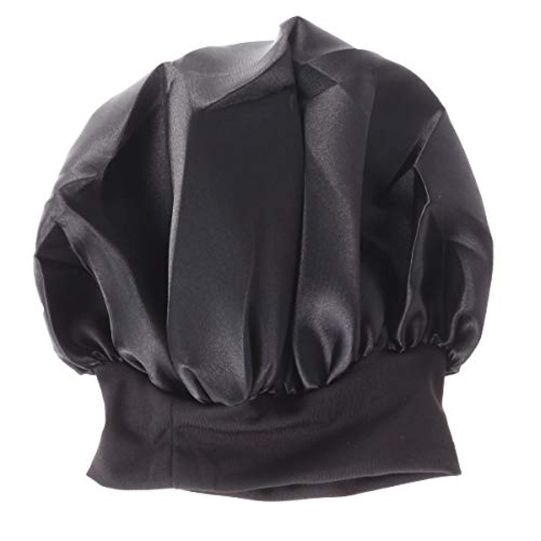 区別する忠実出くわすROSENICE 56-58cmワイドサイド高レジリエンスナイトキャップスリーピングキャップサイズM(ブラック)