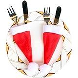 Malloom 10pcs Mini Santaクル?ド?パリ帽子カトラリーバッグクリスマスパーティーテーブルSilverwareホルダーインテリア