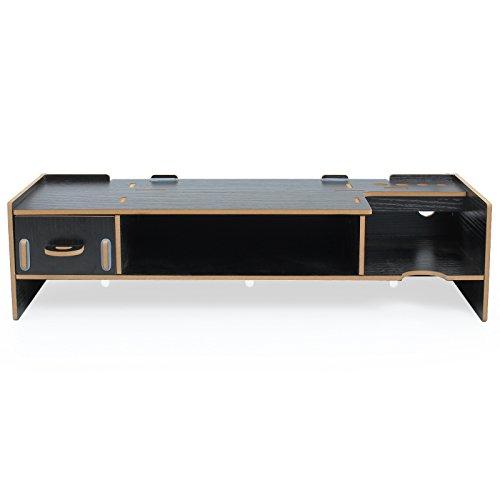 [해외]ESYNiC 탁상 대 모니터 랙 모니터 스탠드 나무 경추 스트레스 감소 2 단식 받침대 (블랙)/ESYNiC Desk Top Monitor Rack Monitor Stand Wooden Cervical Spine Stress Reduction 2-stage Monitor Stand (Black)