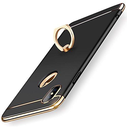 KYOKA iPhone X ケース リング付き 衝撃防止 スタンド機能 3パーツ式 アイフォンXケース 高級感 薄型 携帯カバー (ブラック)
