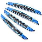 Hamkaw 4 PCS Car Reflective Sticker, Carbon Fiber Anti-Collision Strip Universal Car Side Door Bumper Protection Guards (Blue)
