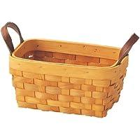 丸和貿易 ウィッカーバスケット レザーハンドル  レクタングル 400490800