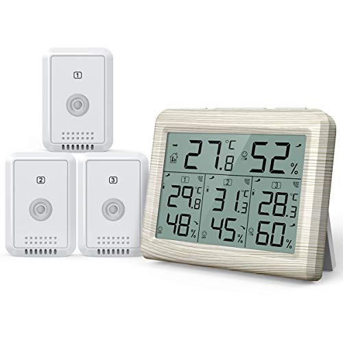 升级版 AMIR デジタル温湿度計 外気温度計 ワイヤレス 温度湿度計 室内室外 三つセンサー 高精度 LCD大画面 バックライト機能付き 最高最低温湿度/快適レベル/温度と湿度傾向図表示 置き掛け両用 温室 ペット 華氏/摂氏表示 温度管理 健康管理 見やすい おしゃれ ホワイト