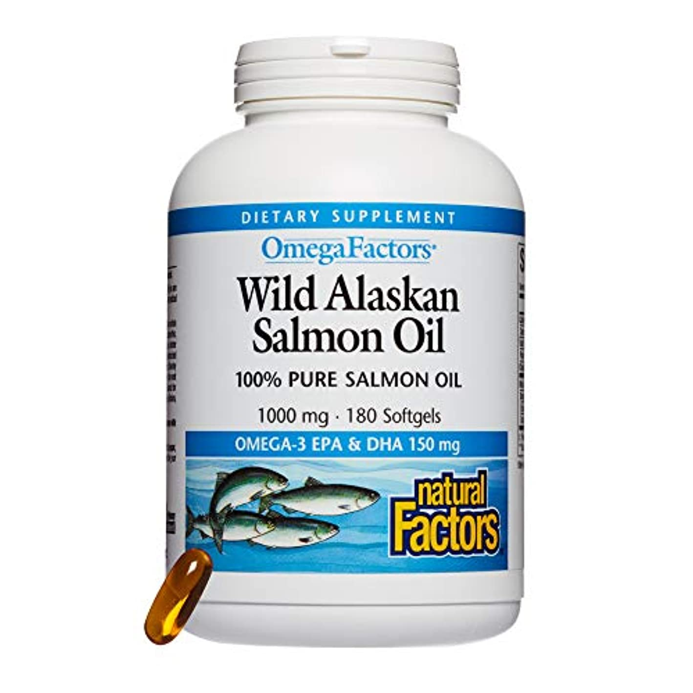 眼命題学期海外直送品Natural Factors Wild Alaskan Salmon Oil, 180 Softgels 1000 mg