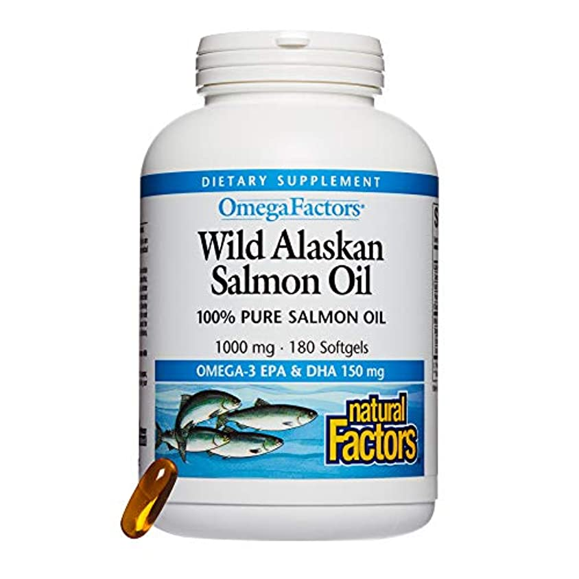 徹底的に性別地震海外直送品Natural Factors Wild Alaskan Salmon Oil, 180 Softgels 1000 mg