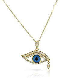 925 Sterling Silver Yellow Gold-Tone CZ Evil Eye Tear Protection Pendant Necklace