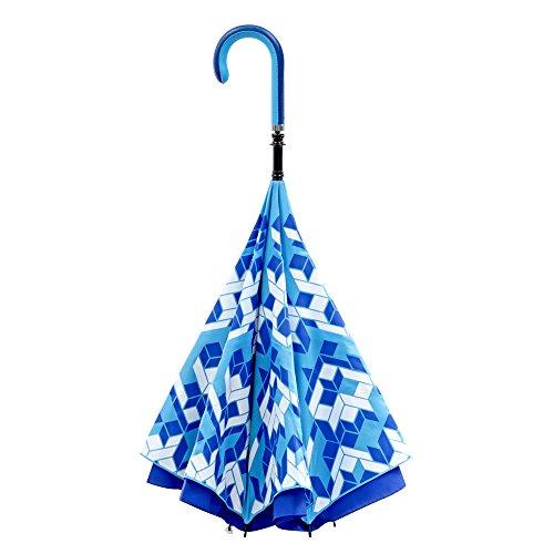 【CARRY saKASA (キャリーサカサ) CityModel】 逆折り式傘 逆さ傘 テフロン加工 (ブルー/ブルー 柄入り)