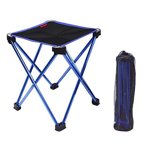 アウトドアチェア折りたたみ椅子コンパクト イス 持ち運び キャンプ用軽量 収納バッグ付き 折りたたみチェア レジャー 背もたれなし (ブルー)